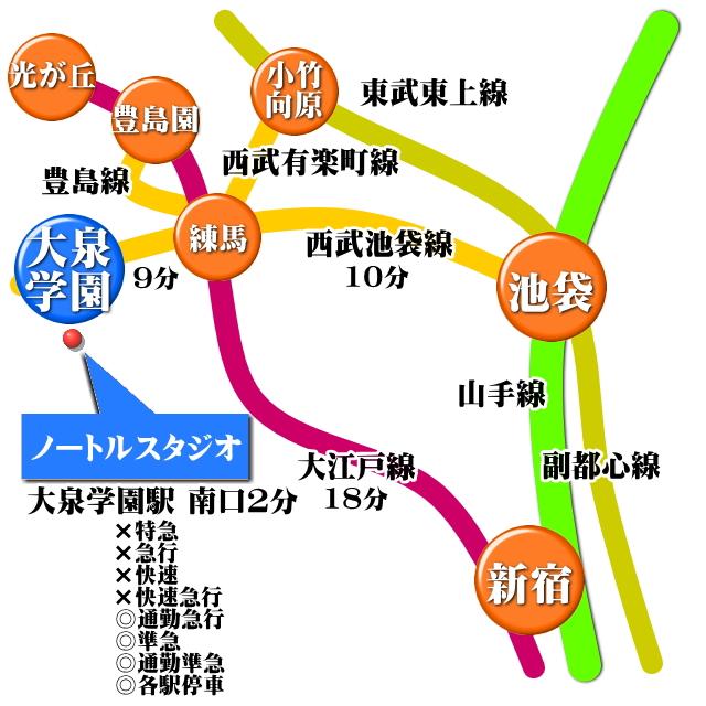 練馬区 大泉学園 レンタルスタジオ 地図 所在地 住所 アクセス