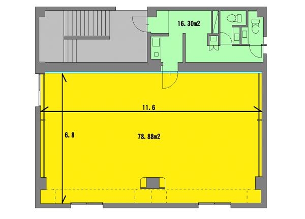 20人がのびのび踊れる ダンススタジオ 有効面積は78平米